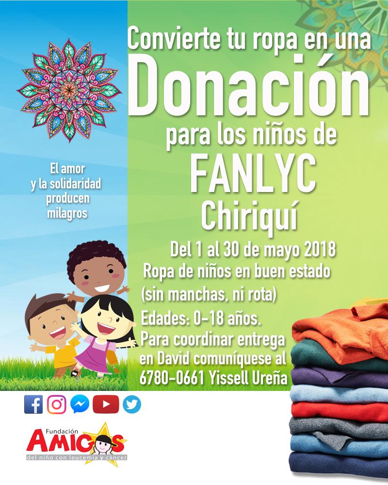 Donación de ropa para niños de Fanlyc Chiriquí
